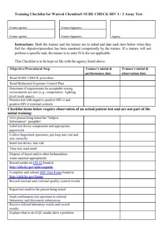 Training Checklist for Waived Template