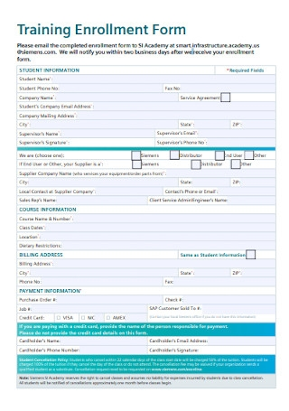 Training Enrollment Form Template