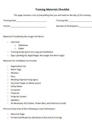 Training Materials Checklist