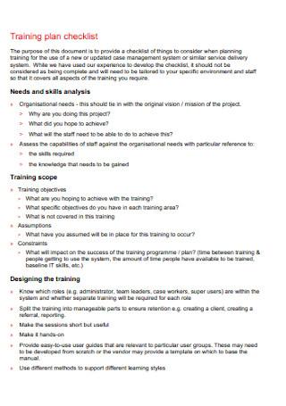 Training Plan Checklist