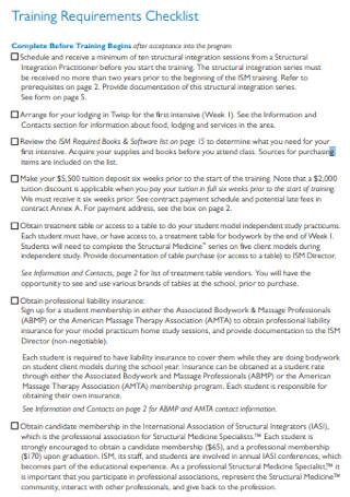 Training Requirements Checklist