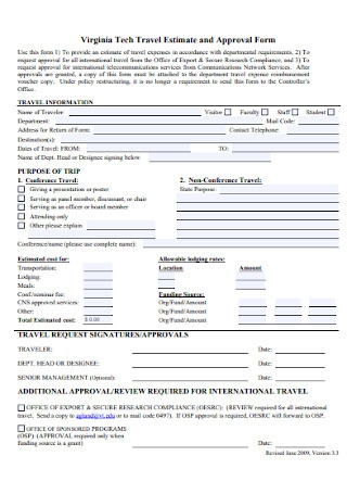 Travel Estimate and Approval Form