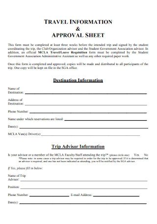 Travel Information Approval Sheet