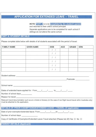 Travel Leave Application Form