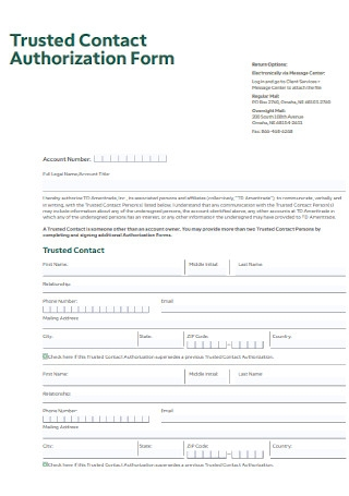 Trusted Contract Authorization Form