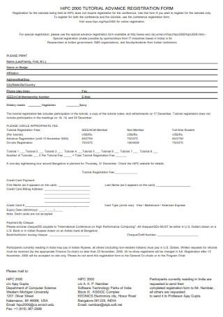 Tutorials Advance Registration Form