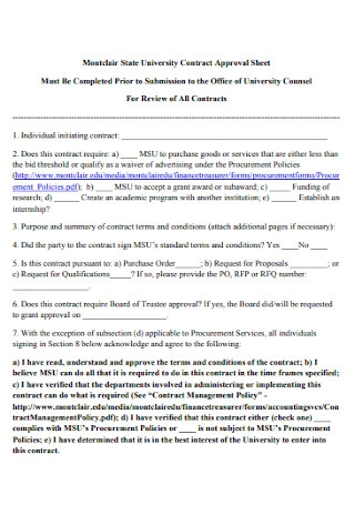 University Contract Approval Sheet
