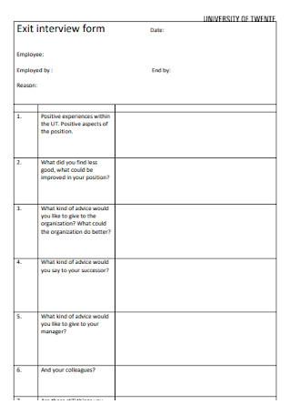 University Exit Interview Form