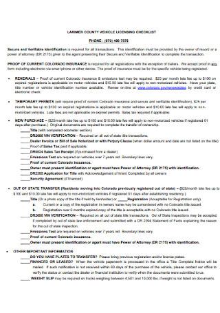 Vehicle Licensing Checklist