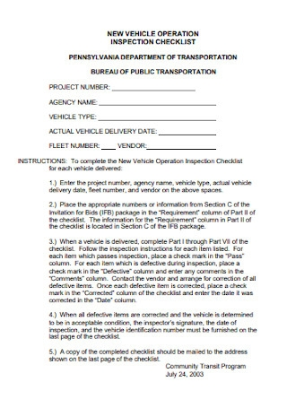 Vehicle Operation Inspection Checklist