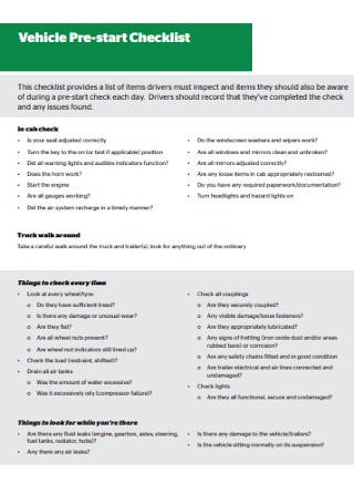 Vehicle Pre start Checklist