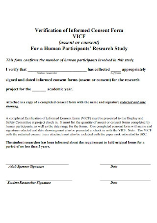 Verification of Informed Consent Form