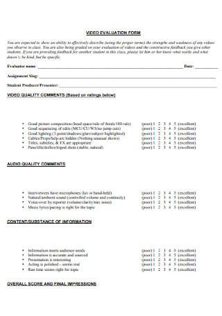 Video Evaluation Form