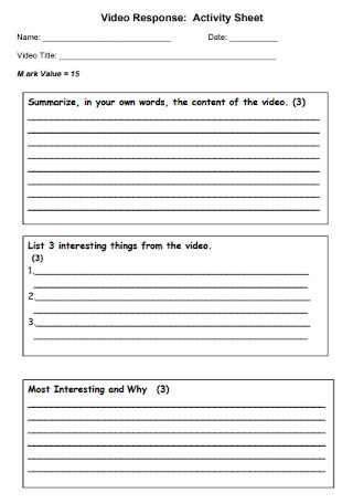 Video Response Activity Sheet