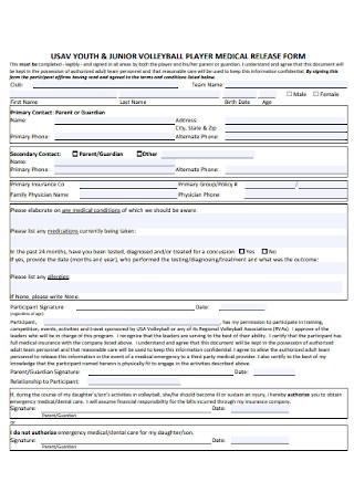 Vollyball Player Medical Release Form
