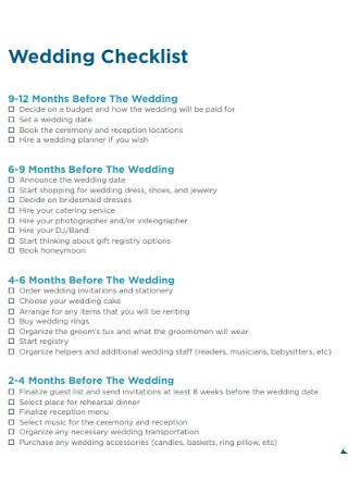 Wedding Checklist Format