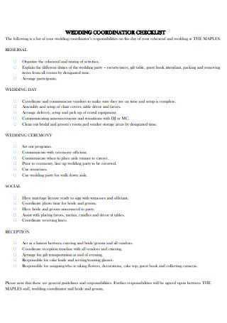 Wedding Coordinator Planning Checklist