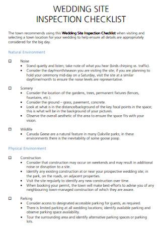 Wedding Site Planning Checklist