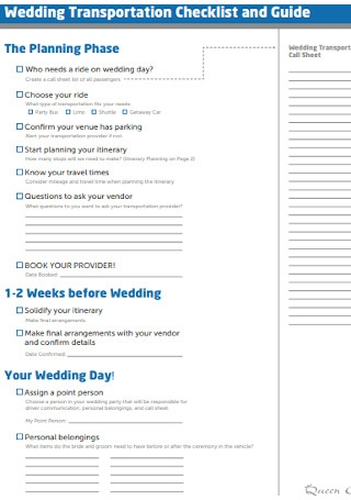 Wedding Transportation Checklist
