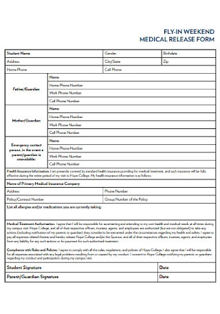 Weekend Medical Release Form