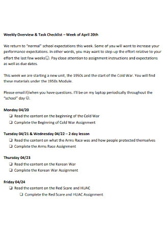 Weekly Task Checklist