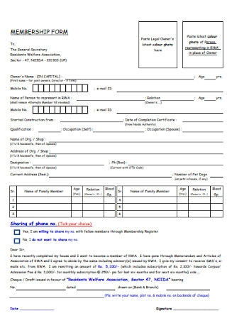 Welfare Association Membership Form
