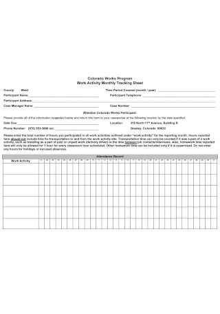 Work Activity Monthly Tracking Sheet