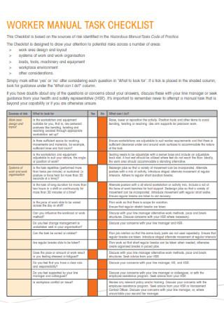 Worker Mannual Task Checklist