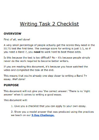 Writing Task Checklist