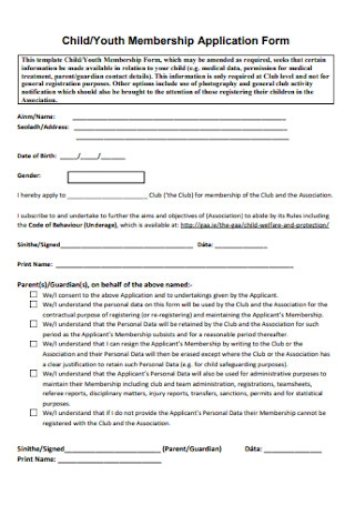 Youth Membership Application Form