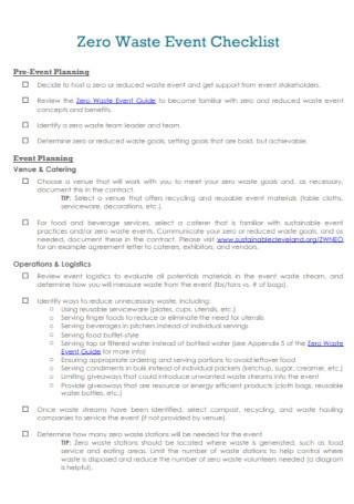 Zero Waste Event Checklist