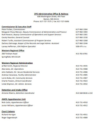 Administrative Office Contact List