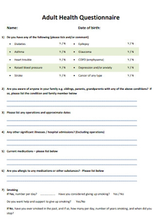 Adult Health Questionnaire