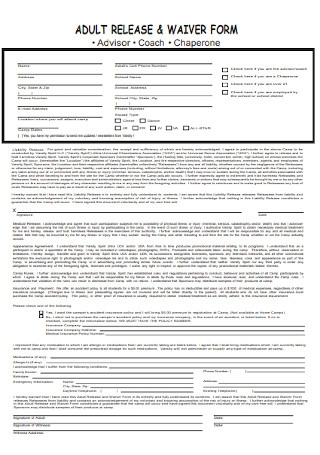 Adult Release and Waiver Form