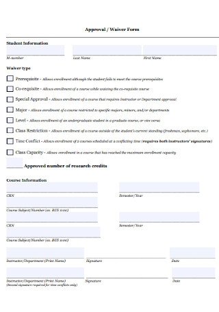 Approval and Waiver Form