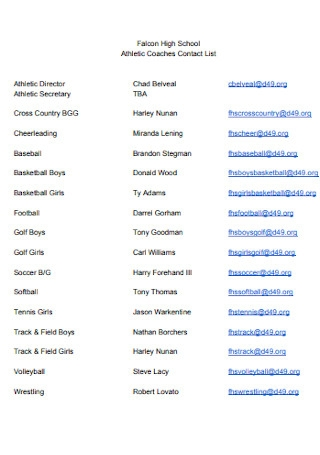 Athletic Coaches Contact List