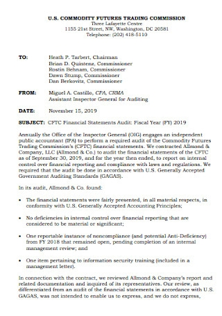 Audit Financial Statements Template