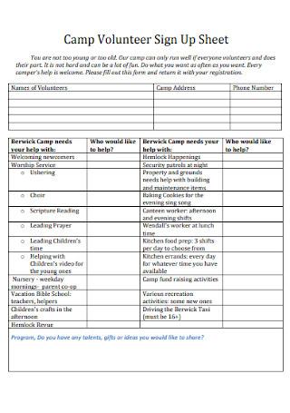 Camp Volunteer Sign Up Sheet