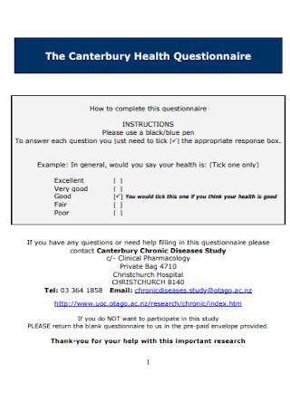 Canterbury Health Questionnaire