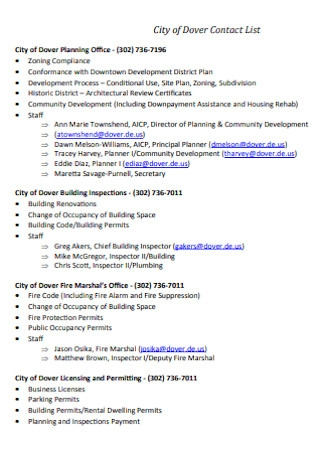 City of Contact List