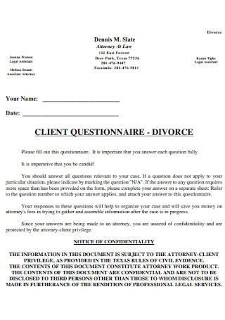Client Divorce Questionnaire