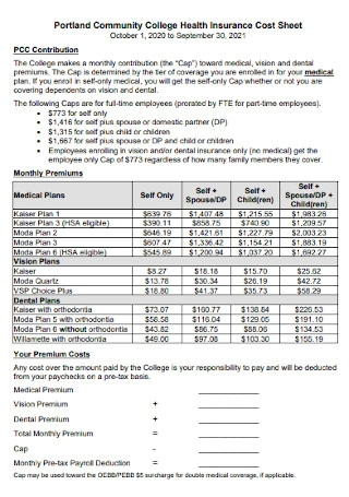 College Health Insurance Cost Sheet
