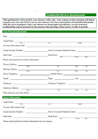 Confidential Divorce Questionnaire Template