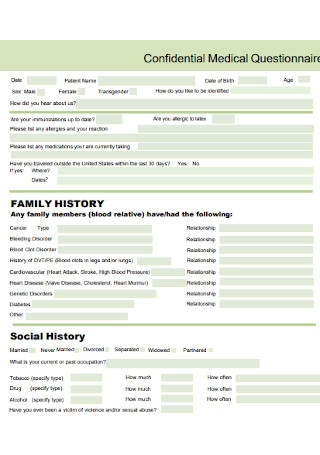 Confidential Medical Questionnaire Template