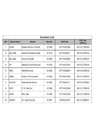 Contact List Format