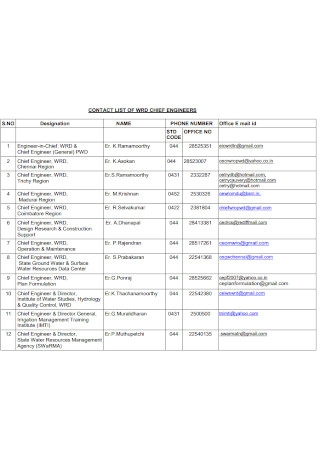 Contact List for Chief Eniineers