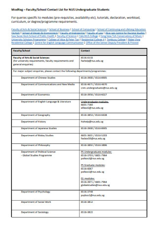 Contact List for Undergraduate Students