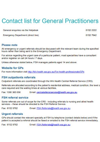 Contact list for General Practitioners