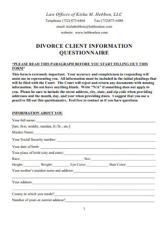 Divorce Client Information Questionnaire