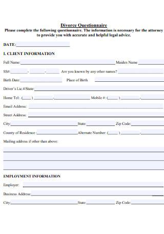 Divorce Law Questionnaire